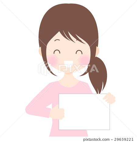 微笑的婦女有輕碰例證例證背景·透明背景·傳染媒介物質拷貝空間 29639221