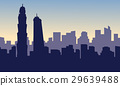 Silhouette of building hotel on dubai scenery 29639488