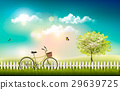 Nature meadow landscape with a bicycle. Vector. 29639725