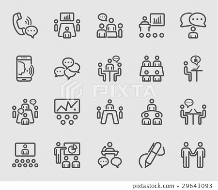 Business conference and Meeting line icon 29641093