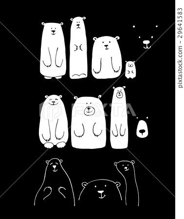 Funny white bears family, sketch for your design 29641583