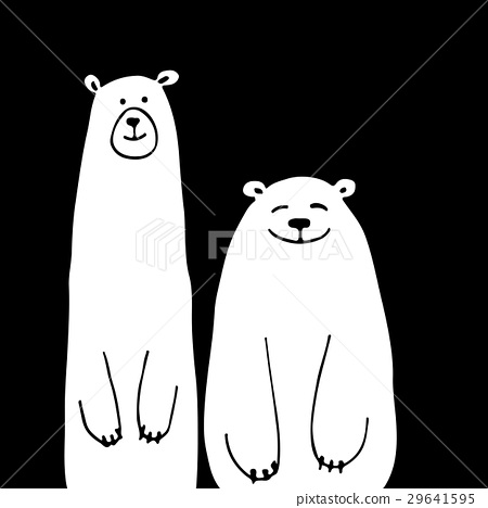 Funny white bears, sketch for your design 29641595