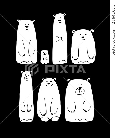 Funny white bears family, sketch for your design 29641631