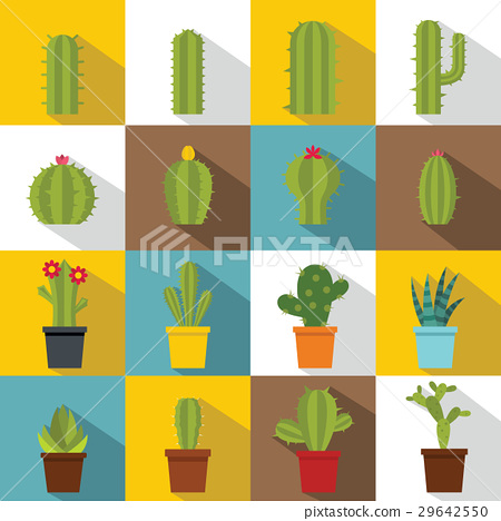 Different cactuses icons set, flat style 29642550