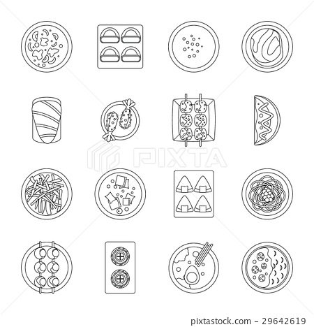 Japan food icons set, outline style 29642619