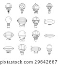 Retro balloons aircraft icons set, outline style 29642667