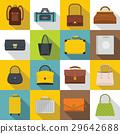 Bag baggage suitcase icons set, flat style 29642688
