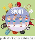 Sport section symbols concept, cartoon style 29642743