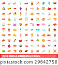 100 food and cooking icons set, cartoon style 29642758