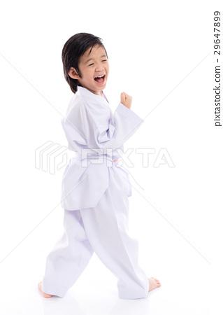 winner child jumping on white backgroud 29647899