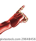The hand of an iron man. Red and gold coloring. 3d 29648456