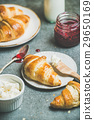 Croissants with raspberry jam, ricotta cheese and 29650169
