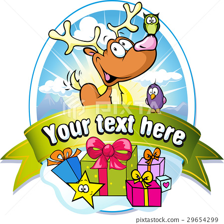 christmas label with reindeer and gifts 29654299