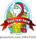 christmas label with Santa Claus and gifts 29654300