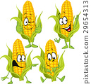 sweet corn cartoon with hands 29654313