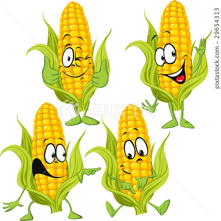 sweet corn cartoon with hands 29654313