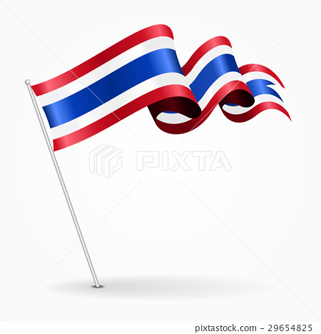 Thai pin wavy flag. Vector illustration. 29654825