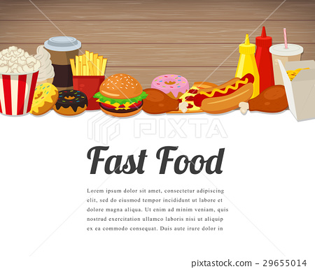 Fast food card design. Food background with 29655014