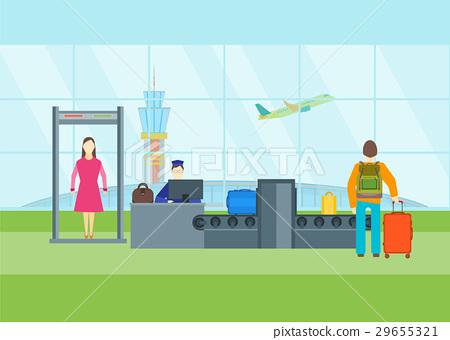 Cartoon Airport Waiting Security Control. Vector 29655321