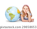 Cute little student girl with globe. 29658653