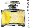 watercolor sketch of perfume bottle isolated 29660364