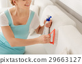 Joyful woman with detergent for cleaning 29663127