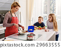 Hungry kids waiting for breakfast in kitchen 29663555