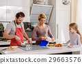 Friendly family cooking together in kitchen 29663576