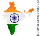 印度 地圖 國旗 29663982