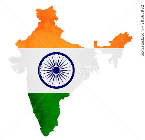 印度地图国旗图标 29663982