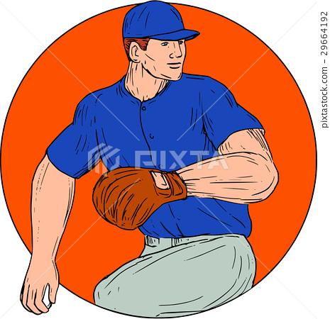 Baseball Pitcher Ready To Throw Ball Circle 29664192