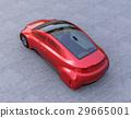 自動駕駛汽車與金屬紅色。原創設計。 29665001