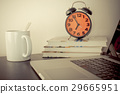 Morning Alarm Clock and coffee on office table 29665951