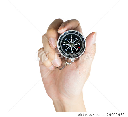 Hand is holding compass for direction isolated  29665975