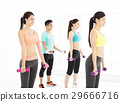 smiling young fit group stretching in gym 29666716