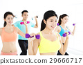 smiling young fit group stretching in gym 29666717