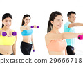 smiling young fit group stretching in gym 29666718