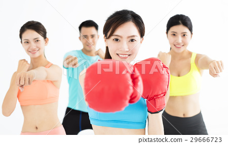 young group people in  boxing class 29666723