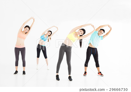 smiling young fit group stretching in gym 29666730