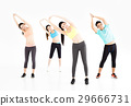 smiling young fit group stretching in gym 29666731