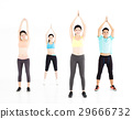 smiling young fit group stretching in gym 29666732