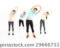 smiling young fit group stretching in gym 29666733
