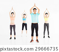 smiling young fit group stretching in gym 29666735