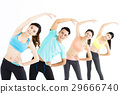 smiling young fit group stretching in gym 29666740