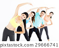 smiling young fit group stretching in gym 29666741