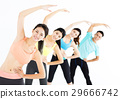 smiling young fit group stretching in gym 29666742