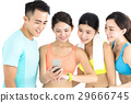 young fit group watching smart phone and watch 29666745