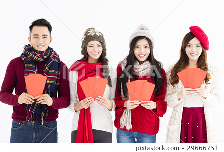 chinese new year young group showing red envelope 29666751