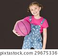 Little Girl Smiling Happiness Basketball Sport Portrait 29675336