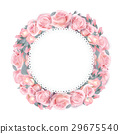 Vector round frame wreath pattern with roses, pink 29675540